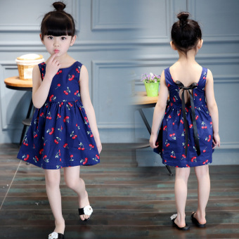 Harga Fashion Girls Sweet Cotton Princess Dresses Cherry Flowers Dresses -Navy Blue