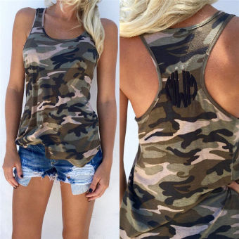 Harga Women Summer Vest Top Sleeveless Shirt Camouflage Tank Top - intl