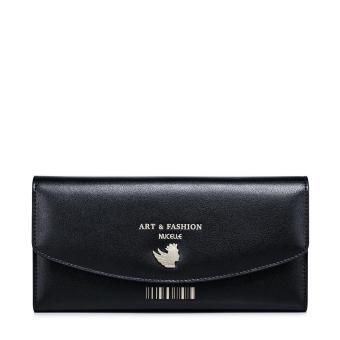 NUCELLE Women Real Genuine Leather Purse Money Checkbook Wallet Clutch Bag Long Fashion (Black) - intl - 2