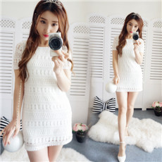 Lace short-sleeved temperament Slimming effect Slim fit New style summer dress