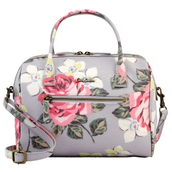 Harga Cath Kidston Mini Embossed Bowler Bag Crossbody Handbag 16SS Richmond Rose Pattern Dove Grey Colour 556804