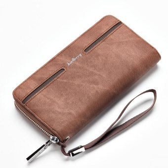 Harga Baellerry Men's Hand Bag Leather Wallet Pu Male Casual Long Wallet - Brown - intl