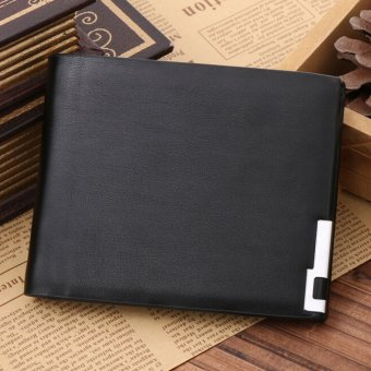 Harga HOT Men Stylish Bifold Business Leather Wallet Card Holder Coin Purse Wallet Bag Black