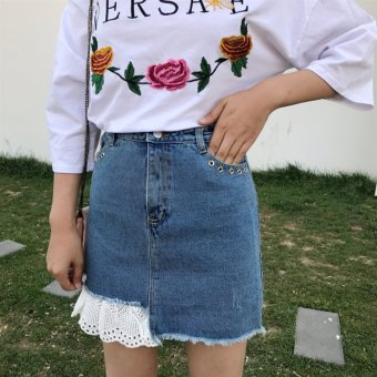 Harga Small female ~ lace stitching waist was thin a-line skirt denim skirt bust skirt