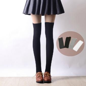 Amart 1 Pair Women Cotton Stockings Sexy Thigh High Knee Long Socks White - intl - 2