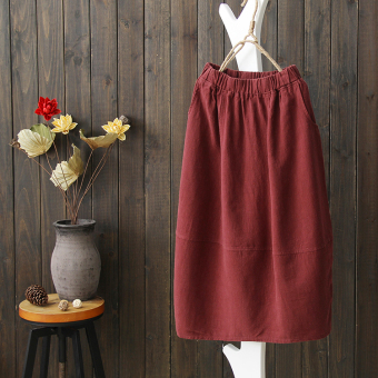 Semi sweet 2017 spring models new literary linen skirts skirt retro skirts spring models in the long section (Red wine)