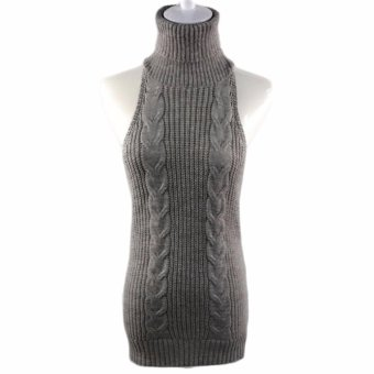 Harga Fancyqube Women's Backless Turtle-Neck Pullover Sweater Grey - intl