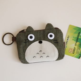 Harga Summer cartoon mini purse bag women canvas wallets animal pattern student hand to get small cloth (Army green totoro)