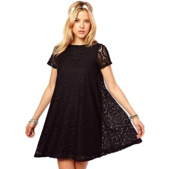Harga C1S Floral Hollow Out A-line Dress (Black) - intl