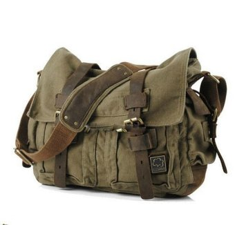 Harga 2016 Men bag Canvas and Leather Crossbody Bag Men Military Army Vintage Messenger Bags Sports Shoulder Bag Casual Travel Bags I AM LEGEND - Intl
