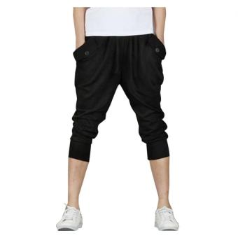 Harga Mens Casual Jogger Sports Shorts Pants (Black) - Intl