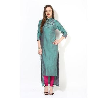Harga SAWAN SELECTION INDIAN POLYSILK EMBROIDERED KURTI(GREEN)