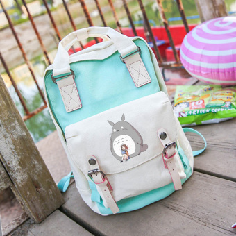 Harga Show luo totoro hayao miyazaki animation around the second element of the female students canvas shoulder bag hit color bag harajuku fresh (Green cartoon 2)