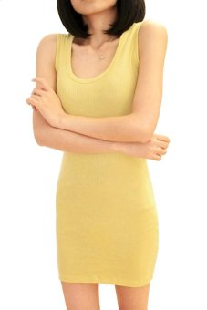 Cyber Women Summer Sexy Bodycon Sleeveless Casual Vest Mini Dress (Yellow)
