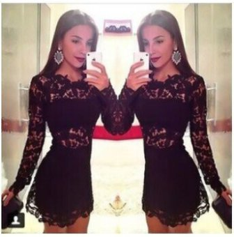 Harga 5096 hot hollow sexy lace round neck slim was thin lace dress