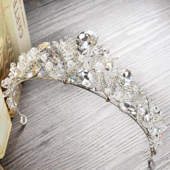 Korean Bridal Crystal Crown Tiara Wedding Dress Accessories Luxury Baroque Rhinestone Hair Bands