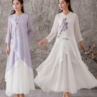 Harga Royal sister 2016 autumn new women double cotton tea service pankou painted zen zen chinese cheongsam dress (White)