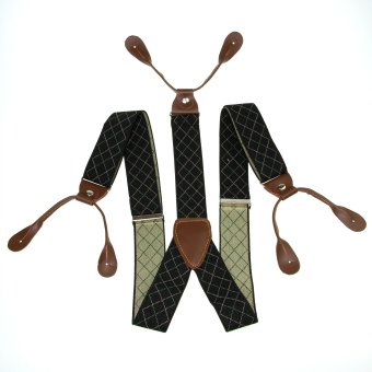 Harga Men's Adjustable 6 Buttons Holes Elastic Suspenders Unisex Black Diamond Braces 3.5cm Width BD767