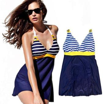 360WISH Women's Navy Style V-neck Padded One-piece Dress Swimsuit - intl