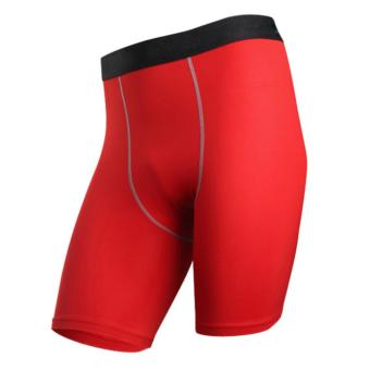 Harga TF NEW Men's tight training PRO Sports fitness running shorts Elastic quick dry Compression Shorts(Red) - intl