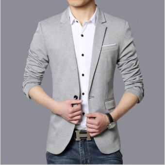 Harga JOY Korea Korean fashion Men's casual suit coat Grey - intl
