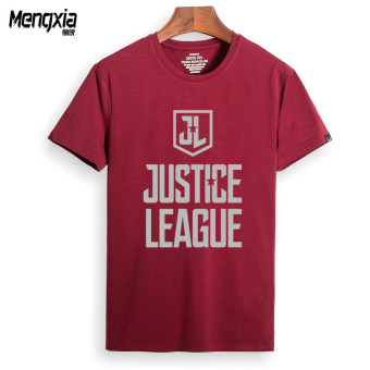 Justice League to save the world short-sleeved t-shirt men summerreflective Print DC Superman Batman Top (Claret Justice Leaguereflective Pattern)