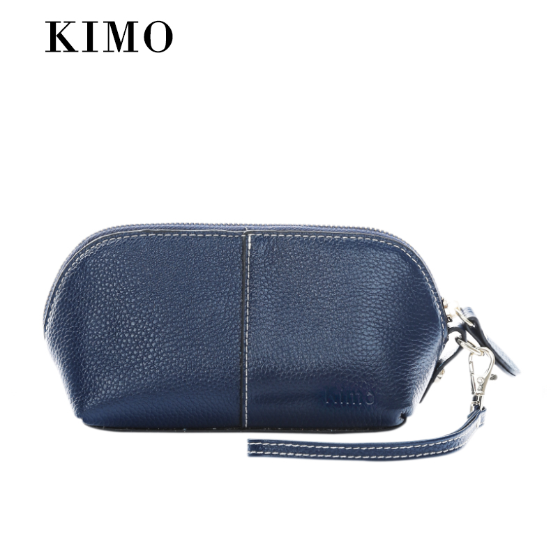 Kimo ms. wallet long section of female simple leather zipper cosmetic bag clutch purse wallet student wallet (Navy blue (large))