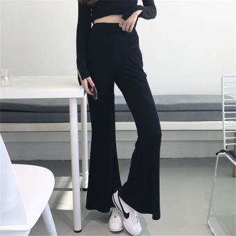 Korean Slim fit slimming versatile casual pants (Black)