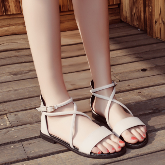 Korean-style A-line buckle flat gladiator sandals (Beige)