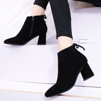 Korean-style autumn and winter New style pointed high-heeled shoes (Black-suede)