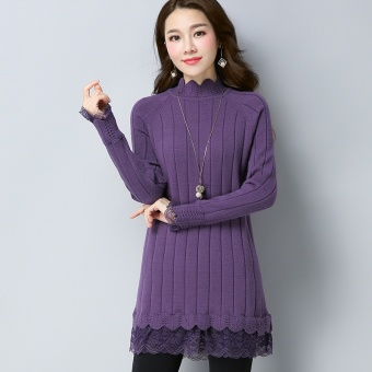Korean-style autumn New style base knitted shirt (Violet)