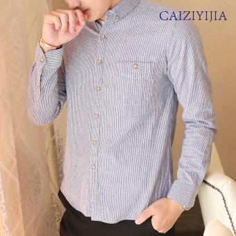 Korean-style blue men long-sleeved fashion Shirt shirt (Sky blue stripes) (Sky blue stripes)