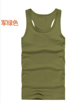 Korean-style cotton base i-shaped dungaree shirt i-shaped vest (Dark green color)