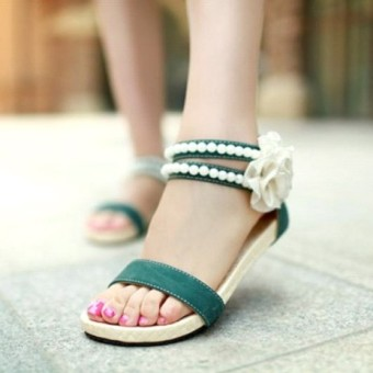 Korean-style female flat with flat female shoes sandals (Beige.)