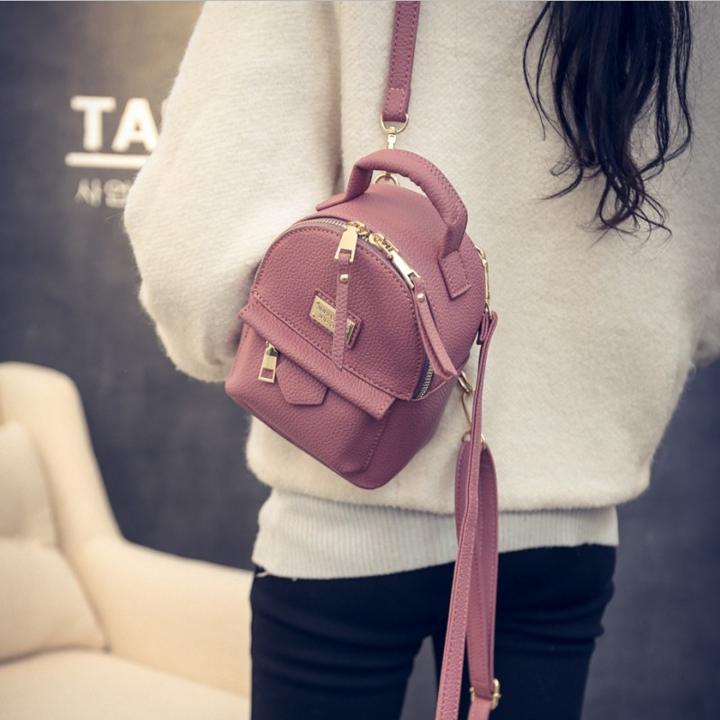 Korean-style female New style backpack small backpack (Small Section: red) (Small Section: red)