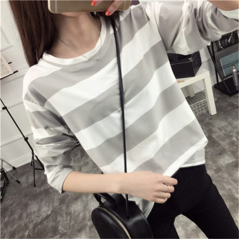 Korean-style female Slimming effect high school students Top striped long-sleeved t-shirt (Gray) (Gray)