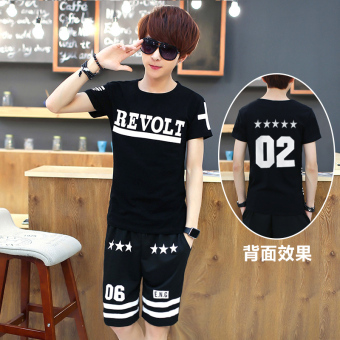Korean-style mercerized cotton boy's junior high school summer short sleeved t-shirt (Short revolt)