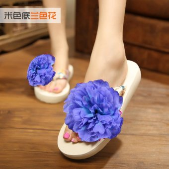 Koreanstyle New style seaside flowers beach slippers flipflops  Blue   Blue