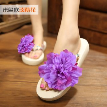 Koreanstyle New style seaside flowers beach slippers flipflops  Light purple   Light purple