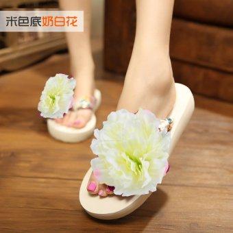 Koreanstyle New style seaside flowers beach slippers flipflops  Milky white   Milky white