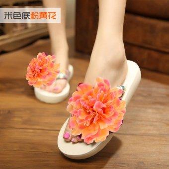 Koreanstyle New style seaside flowers beach slippers flipflops  Nacarat   Nacarat