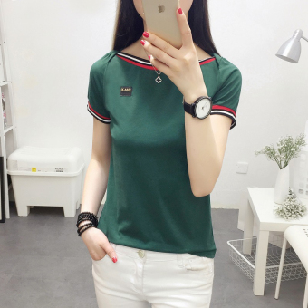 Korean-style Slim fit slimming pullover base shirt solid color short sleeved t-shirt (736 (green)) (736 (green))