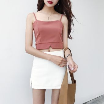Harga Korean-style Slim fit zip high-waisted bare midriff short Top strap (Brick red) (Brick red)