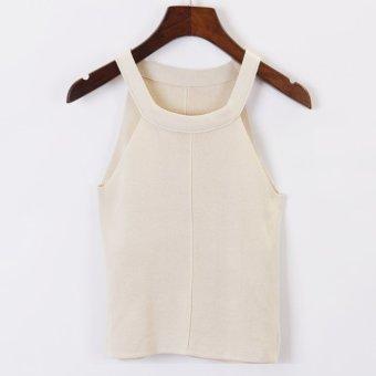 Korean-style spring New style sleeveless bottoming shirt (Beige)