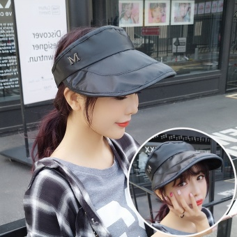 Korean-style summer UV sun hat topless hat (Black)