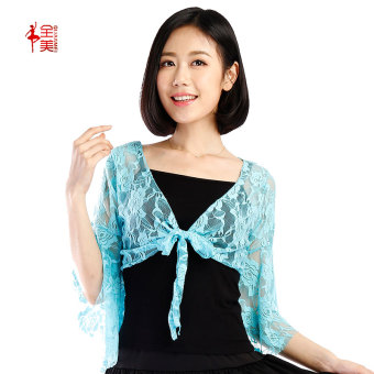 e5db236ec Lace New style speaker sleeves longsleeved Latin dance clothes Dance  clothes Sky blue color lace shawl