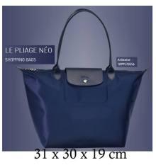 2819e9c87529 Longchamp Large LONG HANDLE shopping Tote Bag Le Pliage Neo 1899 Navy
