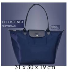 Longchamp Large LONG HANDLE shopping Tote Bag Le Pliage Neo 1899 Navy cf634874ff7fc
