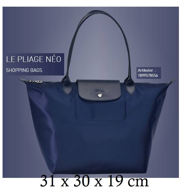 bd1cee0cb91 Longchamp Large LONG HANDLE shopping Tote Bag Le Pliage Neo 1899 Navy