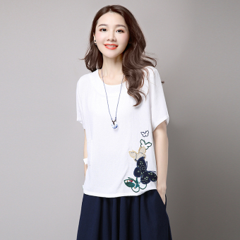 LOOESN Korean cotton linen women Plus-sized Top T-shirt (White)